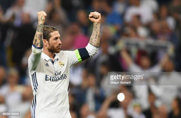 Sergio Ramos of Real Madrid celebrates his team's victory the UEFA Champions League Quarter Final second leg match between Real Madrid CF and FC...