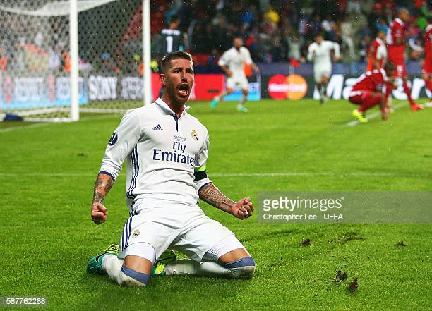 Sergio Ramos of Real Madrid celebrates scoring his team's second goal during the UEFA Super Cup match between Real Madrid and Sevilla at Lerkendal...