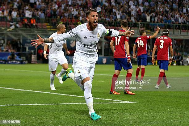 Sergio Ramos of Real Madrid celebrates scoring the opening goal during the UEFA Champions League Final between Real Madrid and Club Atletico de...