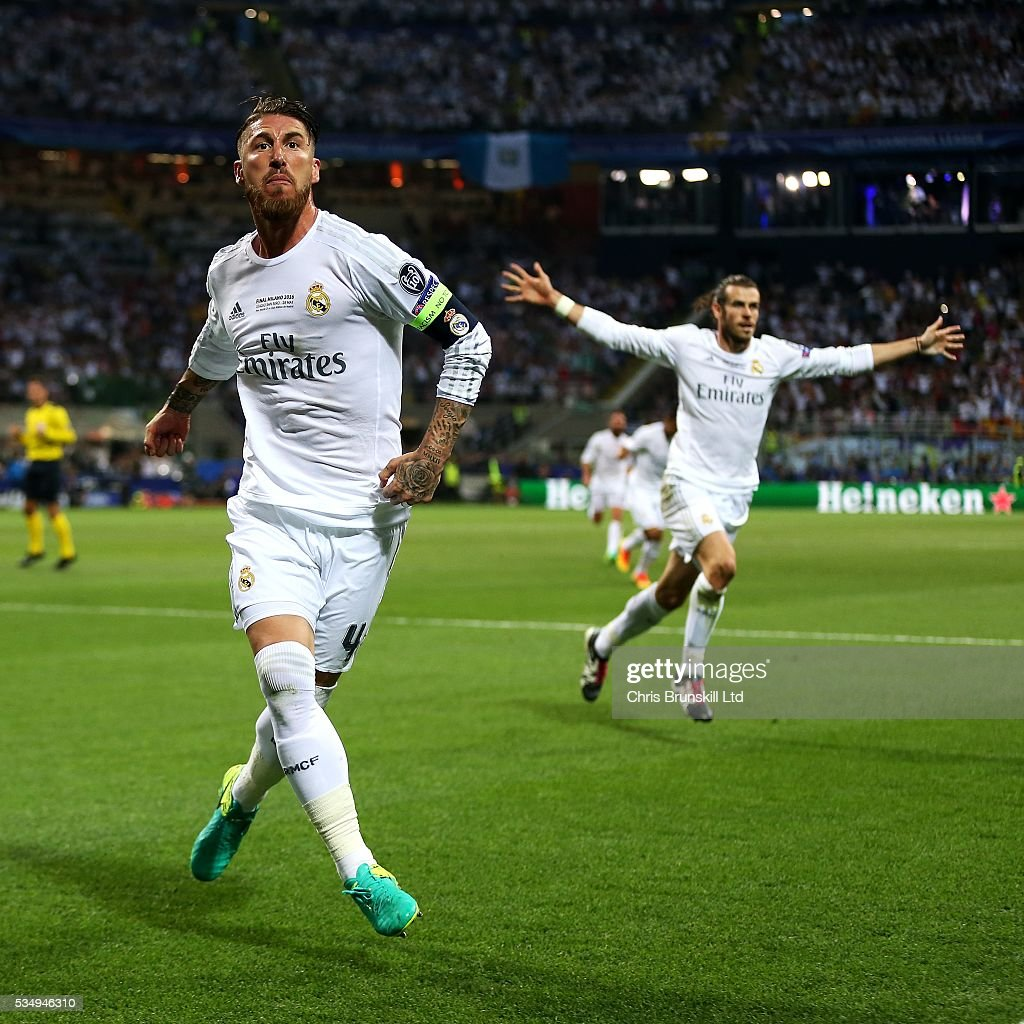 Sergio Ramos of Real Madrid celebrates scoring the opening goal during the UEFA Champions League Final between Real Madrid and Club Atletico de Madrid at Stadio Giuseppe Meazza on May 28, 2016 in Milan, Italy.