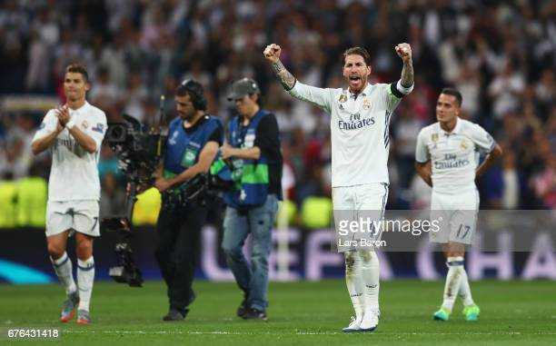 Sergio Ramos of Real Madrid celebrates victory after the UEFA Champions League semi final first leg match between Real Madrid CF and Club Atletico de...