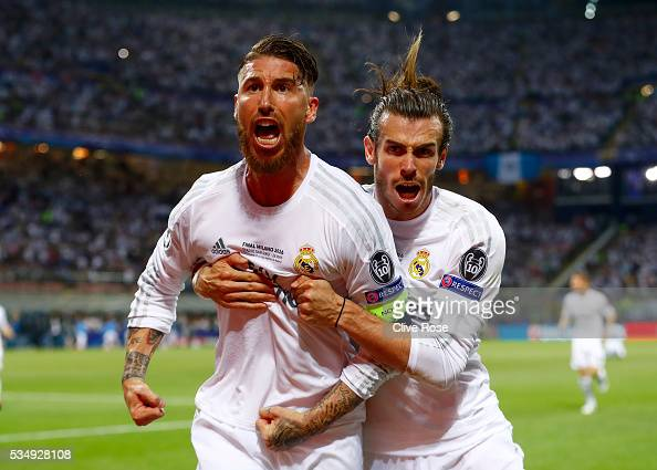 Sergio Ramos of Real Madrid celebartes with Gareth Bale after scoring the opening goal during the UEFA Champions League Final match between Real...