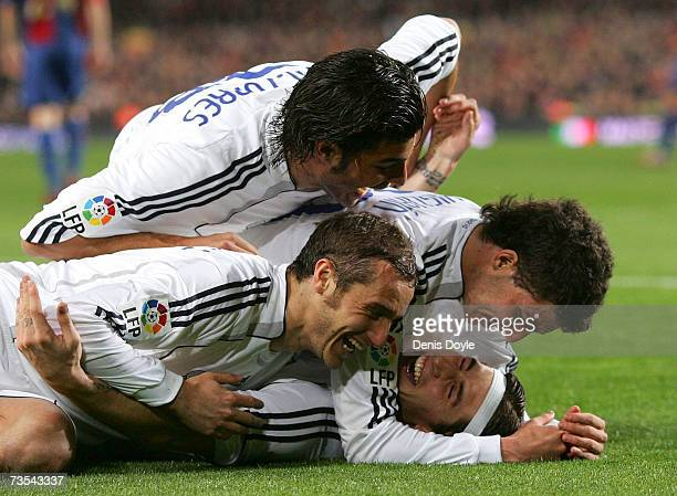 Sergio Ramos of Real Madrid celebrates with teammates after scoring Real's third goal during the Primera Liga match between Barcelona and Real Madrid...