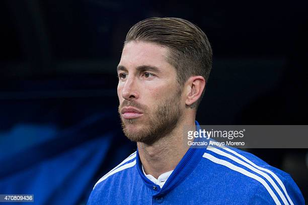 Sergio Ramos of Real Madrid CF access the pitch prior to start the UEFA Champions League quarterfinal second leg match between Real Madrid CF and...