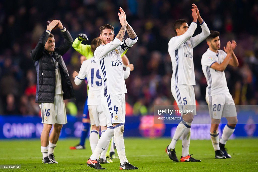 Sergio Ramos of Real Madrid CF applauds after the La Liga match between FC Barcelona and Real Madrid CF at Camp Nou stadium on December 3 2016 in...