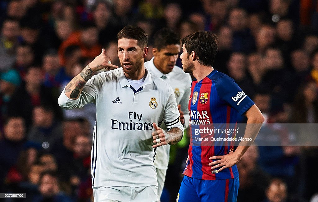 Sergio Ramos of Real Madrid CF celebrates after scoring the first goal of Real Madrid during La Liga match between FC Barcelona and Real Madrid CF at...
