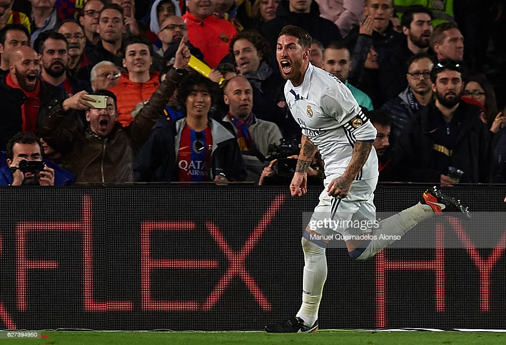 Sergio Ramos of Real Madrid CF celebrates after scoring the first goal during the La Liga match between FC Barcelona and Real Madrid CF at Camp Nou...