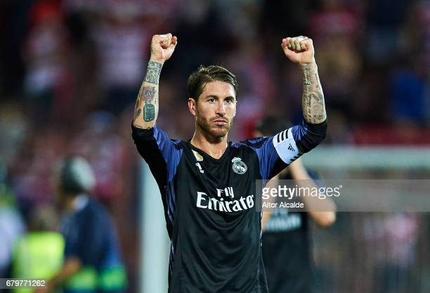 Sergio Ramos of Real Madrid CF celebrates after wining the match with Real Madrid Fans during the La Liga match between Granada CF v Real Madrid CF...