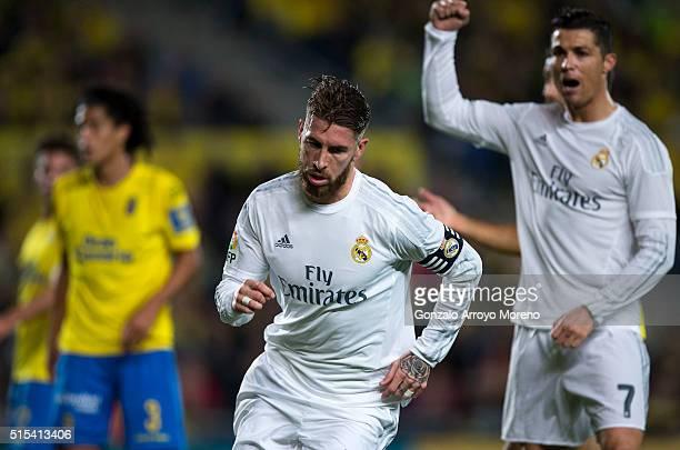 Sergio Ramos of Real Madrid CF celebrates scoring their opening goal during the La Liga match between UD Las Palmas and Real Madrid CF at Estadio de...
