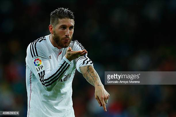 Sergio Ramos of Real Madrid CF celebrates scoring their second goal during the La Liga match between Real Madrid CF and Rayo Vallecano de Madrid at...