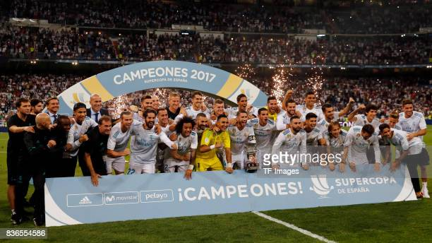 Sergio Ramos of Real Madrid CF celebrates with teammates the Supercopa de Espana Supercopa Final 2nd Leg match between Real Madrid and FC Barcelona...