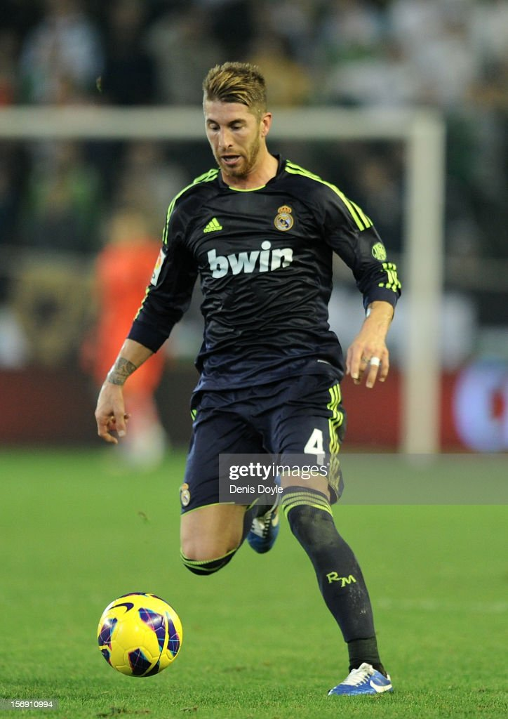 Sergio Ramos of Real Madrid CF controls the ball during the La Liga match between Real Betis Balompie and Real Madrid CF at Estadio Benito Villamarin on November 24, 2012 in Seville, Spain.