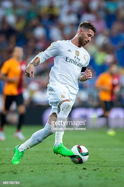 Sergio Ramos of Real Madrid CF controls the ball during the Santiago Bernabeu Trophy match between Real Madrid CF and Galatasaray at Estadio Santiago...