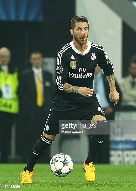 Sergio Ramos of Real Madrid CF in action during the UEFA Champions League semi final match between Juventus and Real Madrid CF at Juventus Arena on...