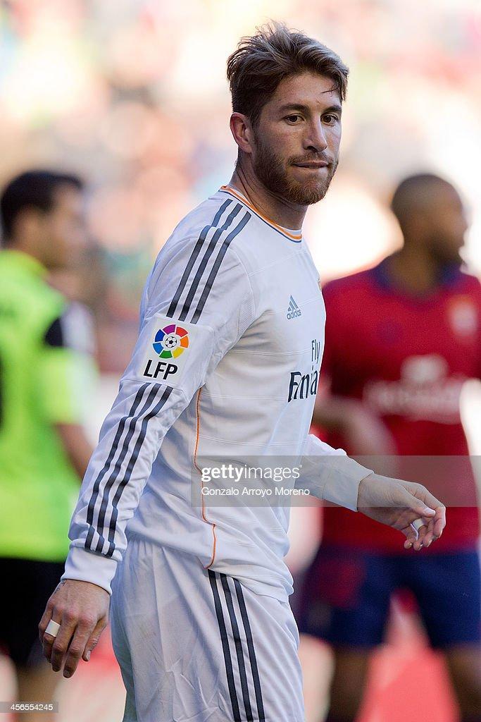 Sergio Ramos of Real Madrid CF looks on during the La Liga match between CA Osasuna and Real Madrid CF at Estadio El Sadar de Navarra on December 14, 2013 in Pamplona, Spain.