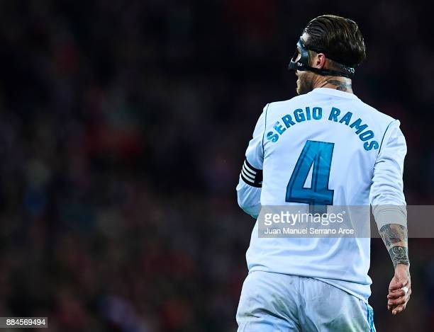 Sergio Ramos of Real Madrid CF looks on during the La Liga match between Athletic Club and Real Madrid at Estadio de San Mames on December 2 2017 in...