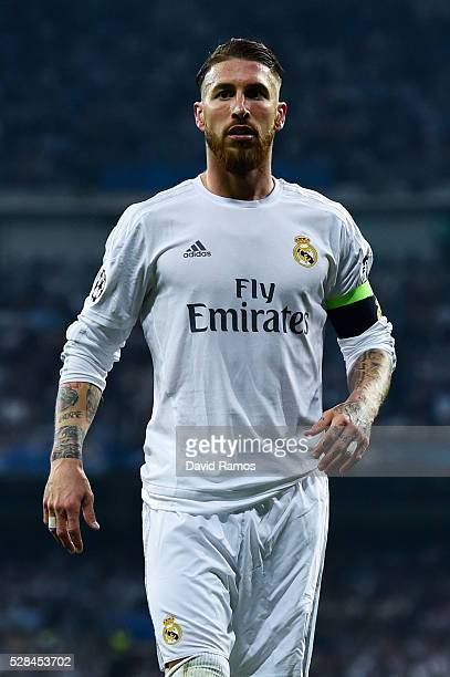 Sergio Ramos of Real Madrid CF looks on during the UEFA Champions League Semi Final second leg match between Real Madrid and Manchester City FC at...