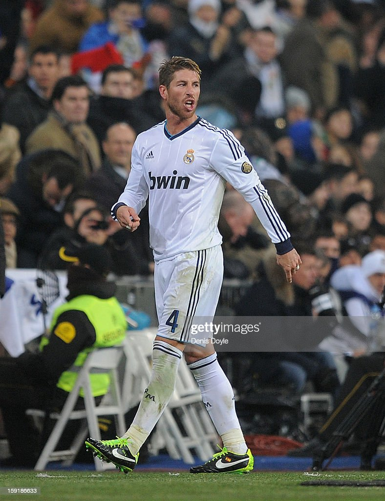 Sergio Ramos of Real Madrid CF reacts after being sent off by referee Ayza Games during the Copa del Rey round of 16 second leg match between Real Madrid and Celta de Vigo at Estadio Santiago Bernabeu on January 9, 2013 in Madrid, Spain.