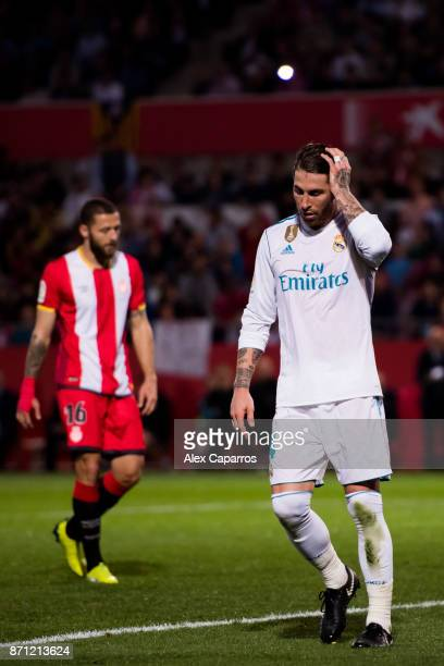 Sergio Ramos of Real Madrid CF reacts during the La Liga match between Girona and Real Madrid at Estadi de Montilivi on October 29 2017 in Girona...