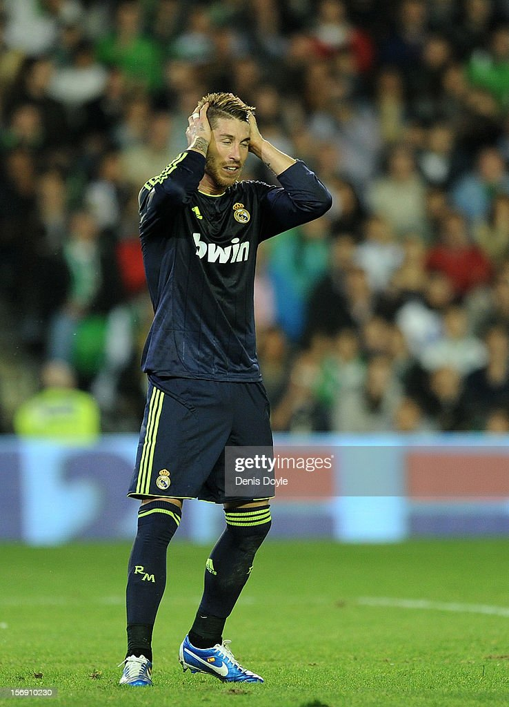 Sergio Ramos of Real Madrid CF reacts during the La Liga match between Real Betis Balompie and Real Madrid CF at Estadio Benito Villamarin on November 24, 2012 in Seville, Spain.