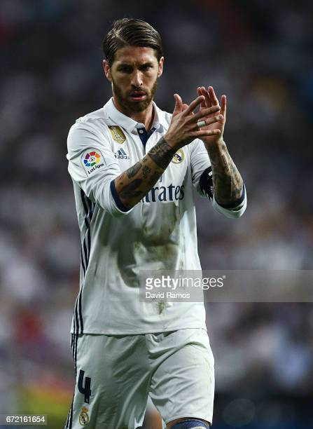 Sergio Ramos of Real Madrid CF reacts during the La Liga match between Real Madrid CF and FC Barcelona at the Santiago Bernabeu stadium on April 23...