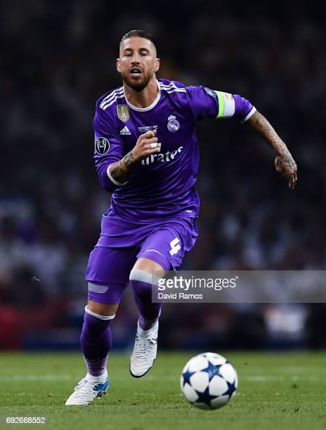Sergio Ramos of Real Madrid CF runs with the ball during the UEFA Champions League Final between Juventus and Real Madrid at National Stadium of...