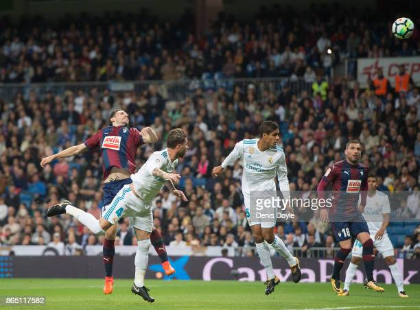 Sergio Ramos of Real Madrid CF scores his teamÕs opening goal during the La Liga match between Real Madrid and Eibar at Estadio Santiago Bernabeu on...