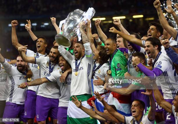 Sergio Ramos of Real Madrid CF with Trophy during the UEFA Champions League Final match between Real Madrid and Juventus at National Wales Stadium in...