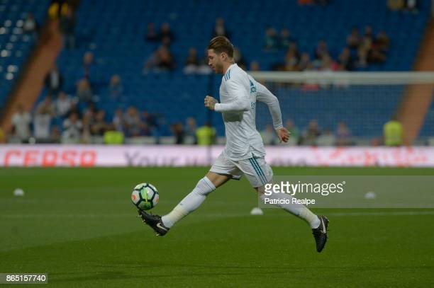Sergio Ramos of Real Madrid controls the ball before the match between Real Madrid and Eibar as part of La Liga at Santiago Bernabeu Stadium on...