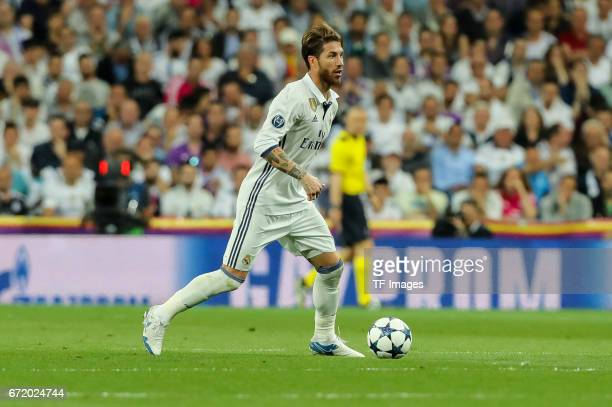 Sergio Ramos of Real Madrid controls the ball during the UEFA Champions League Quarter Final second leg match between Real Madrid CF and FC Bayern...