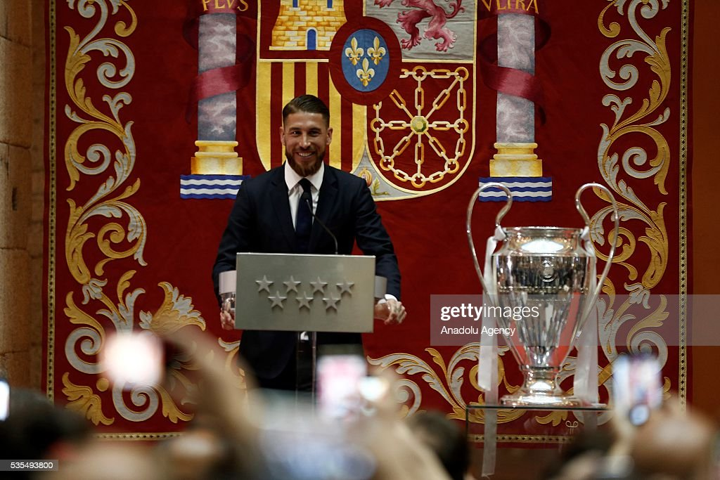 Sergio Ramos of Real Madrid delivers a speech during their visit to President of the Community of Madrid Cristina Cifuentes after Real Madrid won the UEFA Champions League Final match against Club Atletico de Madrid, at Madrid City Hall in Madrid, Spain on May 29, 2016.