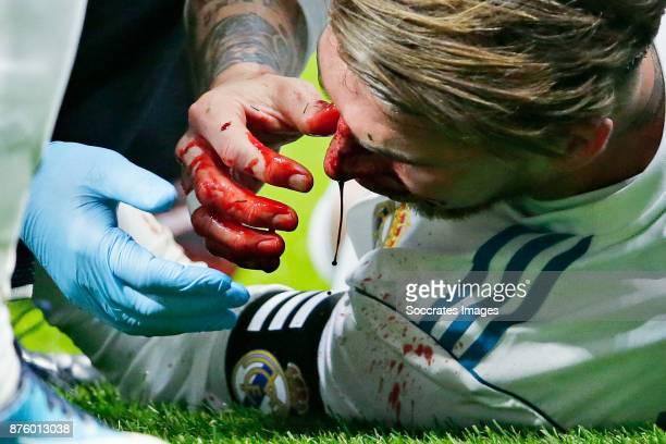 Sergio Ramos of Real Madrid during the Spanish Primera Division match between Atletico Madrid v Real Madrid at the Estadio Wanda Metropolitano on...