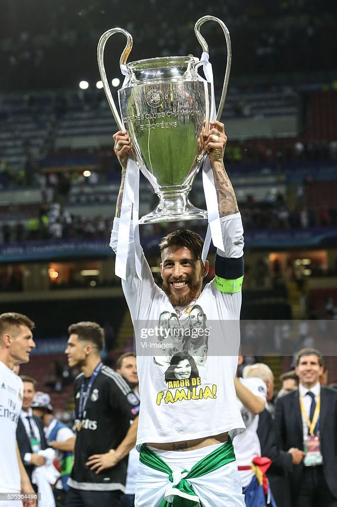 Sergio Ramos of Real Madrid during the UEFA Champions League final match between Real Madrid and Atletico Madrid on May 28, 2016 at the Giuseppe Meazza San Siro stadium in Milan, Italy.