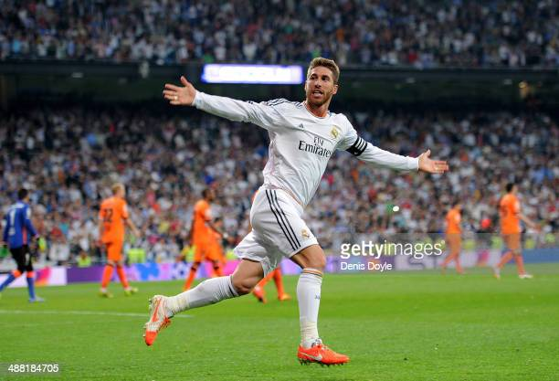 Sergio Ramos of Real Madrid FC celebrates after scoring Real's opening goal during the La Liga match between Real Madrid CF and Valencia CF at...