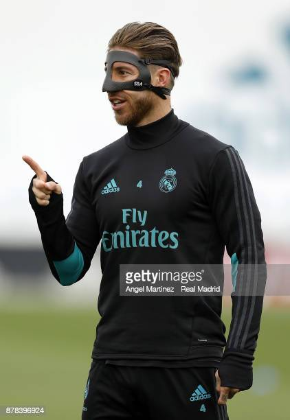 Sergio Ramos of Real Madrid gestures during a training session at Valdebebas training ground on November 24 2017 in Madrid Spain