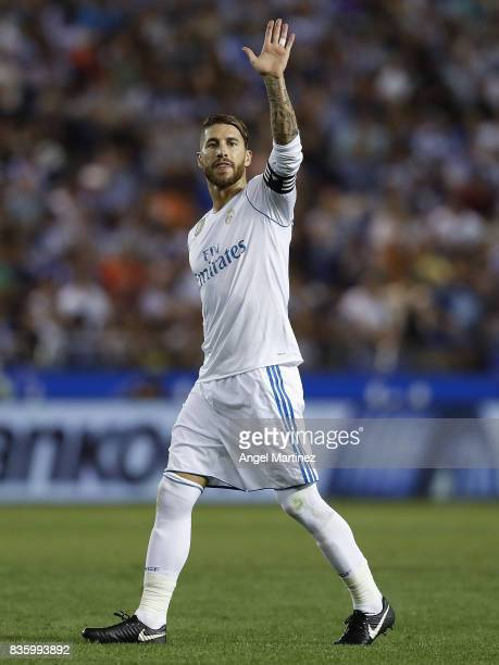 Sergio Ramos of Real Madrid gestures during the La Liga match between Deportivo La Coruna and Real Madrid CF at Riazor Stadium on August 20 2017 in...