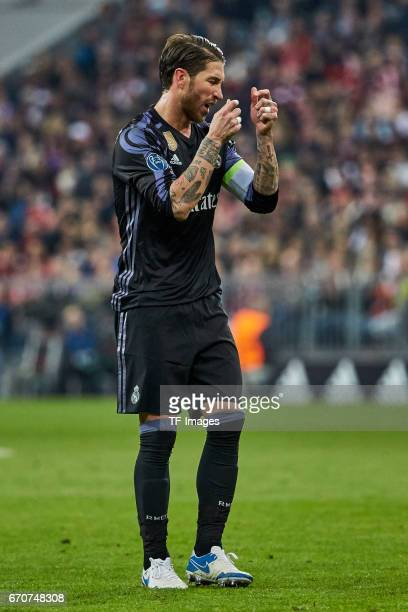 Sergio Ramos of Real Madrid gestures during the UEFA Champions League Quarter Final first leg match between FC Bayern Muenchen and Real Madrid CF at...