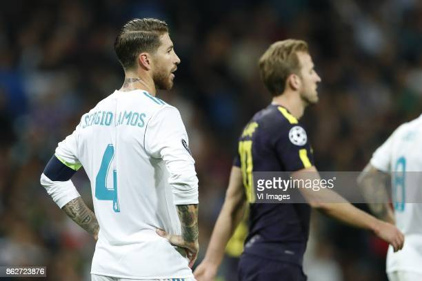 Sergio Ramos of Real Madrid Harry Kane of Tottenham Hotspur FC during the UEFA Champions League group H match between Real Madrid and Tottenham...