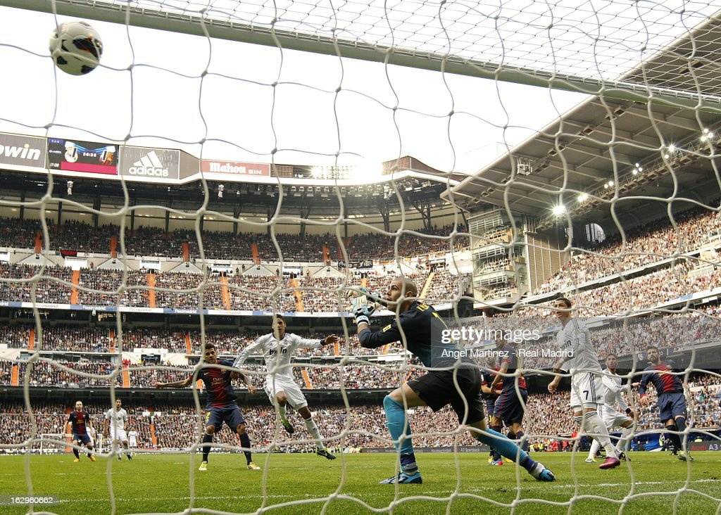 Sergio Ramos of Real Madrid heads the ball to score his team's second goal during the La Liga match between Real Madrid and FC Barcelona at Estadio Santiago Bernabeu on March 2, 2013 in Madrid, Spain.