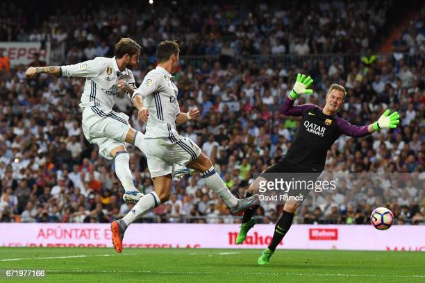 Sergio Ramos of Real Madrid hits the post for Casemiro of Real Madrid to follow up and score the first goal during the La Liga match between Real...