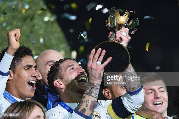Sergio Ramos of Real Madrid holds the trophy aloft during the FIFA Club World Cup final match between Real Madrid and Kashima Antlers at...