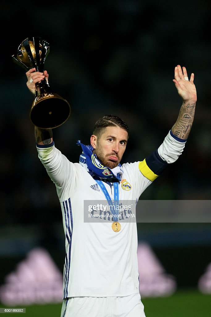 Sergio Ramos of Real Madrid holds the trophy at the end of the FIFA Club World Cup final match between Real Madrid and Kashima Antlers at International Stadium Yokohama on December 18, 2016 in Yokohama, Japan.