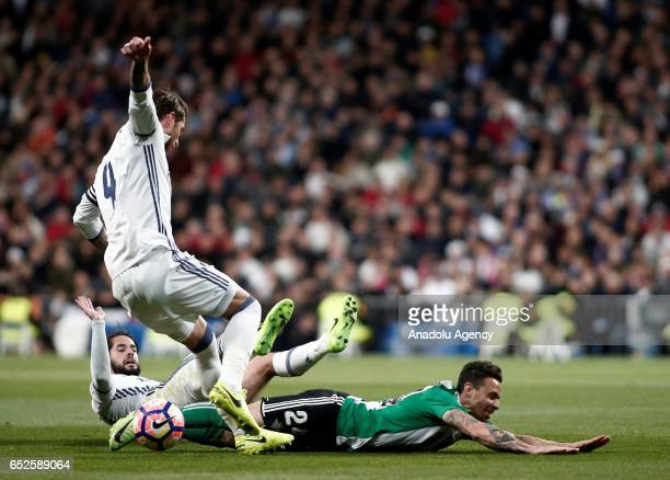 Sergio Ramos of Real Madrid in action against German Pezzella of Real Betis during the La Liga football match between Real Madrid and Real Betis at...