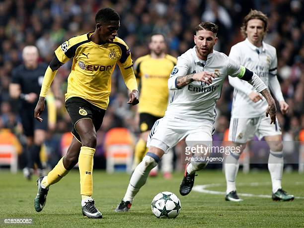 Sergio Ramos of Real Madrid in action against Ousmane Dembele of Borussia Dortmund during the UEFA Champions League Group F football match between...