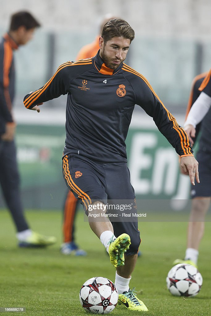 Sergio Ramos of Real Madrid in action during a training session ahead of their UEFA Champions League Group B match against Juventus at Juventus Arena on November 4, 2013 in Turin, Italy.