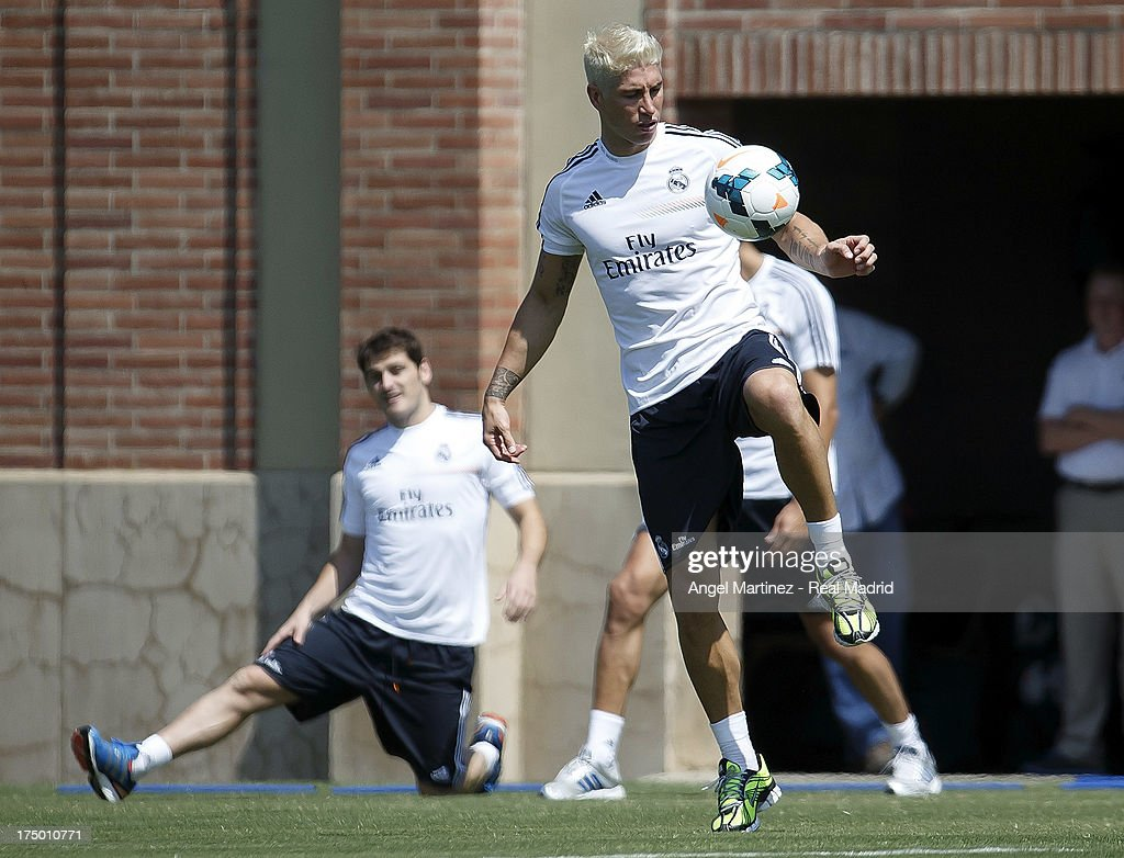 Sergio Ramos of Real Madrid in action during a training session at UCLA Campus on July 29, 2013 in Los Angeles, California.