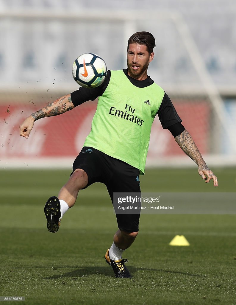 Sergio Ramos of Real Madrid in action during a training session at Valdebebas training ground on October 21, 2017 in Madrid, Spain.