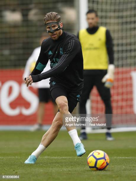 Sergio Ramos of Real Madrid in action during a training session at Valdebebas training ground on November 24 2017 in Madrid Spain