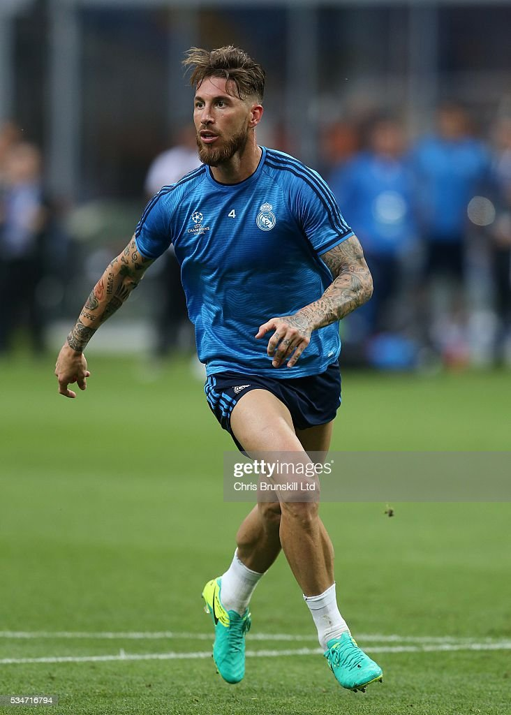 Sergio Ramos of Real Madrid in action during a training session on the eve of the UEFA Champions League Final at Stadio Giuseppe Meazza on May 27, 2016 in Milan, Italy.