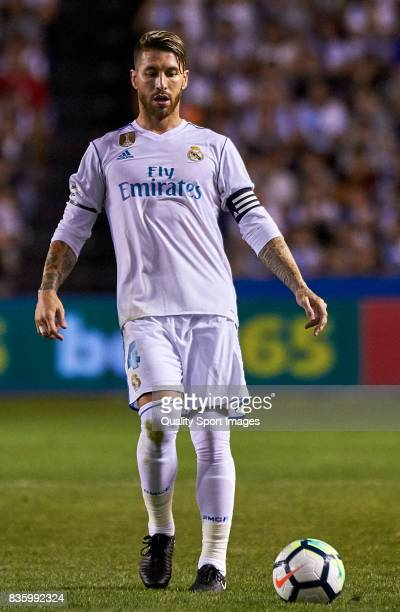 Sergio Ramos of Real Madrid in action during the La Liga match between Deportivo La Coruna and Real Madrid at Riazor Stadium on August 20 2017 in La...